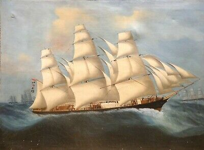 Huge 19th Century China Trade Merchant Ship Full Sail Marine Oil Sailing