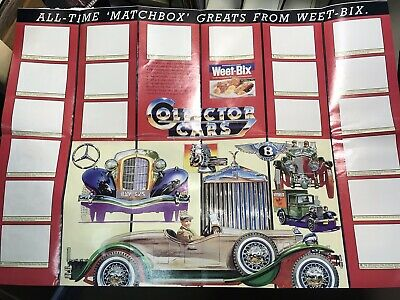 """Vintage Weet-bix  Cards Poster """"Collector Cars"""" Free Post"""