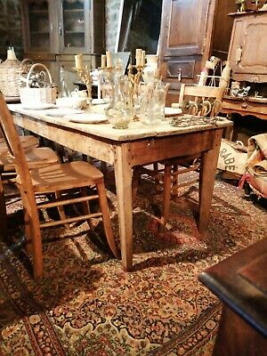 Lovely French planked scrub top farmhouse kitchen dining table