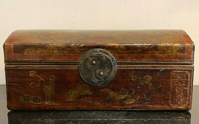 Superb Antique Chinese Leather Pillow Box with Calligraphy Bats and Dragon