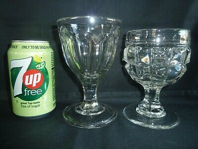 2 Large Victorian Moulded Glass Wine Glasses Rummers