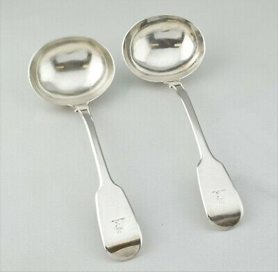 Set of 2 - Antique London William Chawner II Sterling Silver Crested Ladles