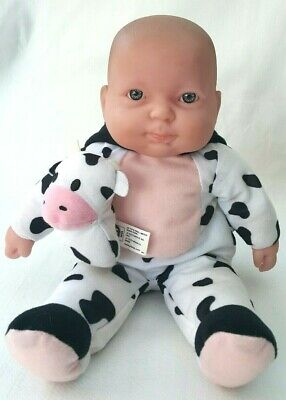 Berenguer Baby Boy Doll Cow Dressed Real Life Toy Vinyl Soft Body Blue Eyes