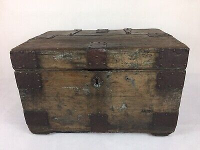 Antique Metal Bound Wooden Trunk, By Finnegan's, Manchester & Bond St, London