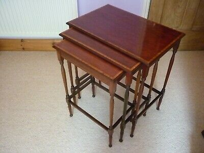 Victorian inlaid mahogany nest of three tables.