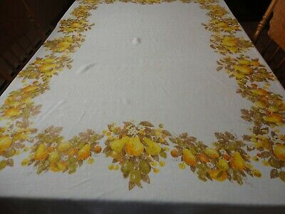 """Vintage Linen Tablecloth Yellow Pear Print 57""""x 77"""" Luther Travis Signature"""