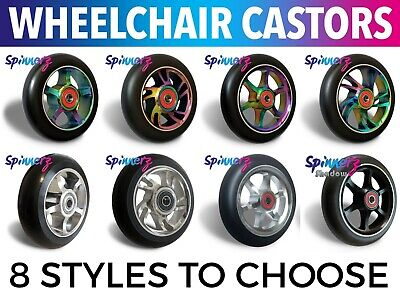2 x Wheelchair Castors Wheels | 8 Styles |100 or 120mm | 4 or 5 inch