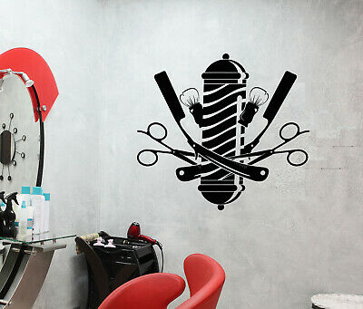 Vinyl Wall Decal Barbershop Logo Scissors Straight Razor Stickers (3815ig)