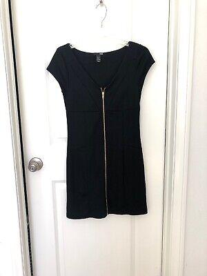 Pre-owned H & M Womens Zip Up Black Dress Size 8