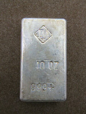 10 oz Silver Bar Johnson Matthey JM 999+ Fine Silver Stamping on Flat Reverse