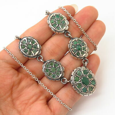 925 Sterling Silver Vintage Emerald Gemstone Ethnic Design Chain Necklace 18""