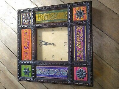 Bohemian Wall Clock Colorful India Case US Movement Vtg Wood Fabric Bollywood