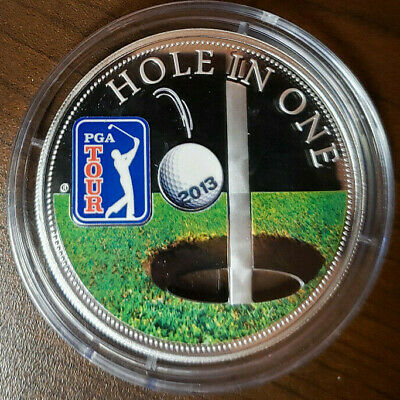 Green Cook Islands 2014 $5 PGA Tour 18313 Sterling Silver Coin