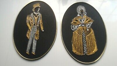 "Vintage 70's hobby craft gold and silver thread picture pair 13"" x 9"""