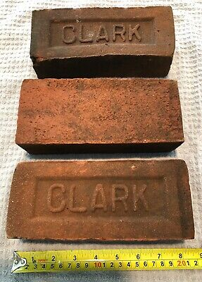 2 Vintage antique red clay bricks, paver. R.O. Clark Cromwell Ct. Circa 1930.