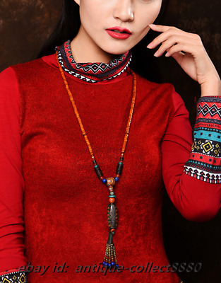 Tibetan Style Tianzhu Agate/Red Stone Carved Bucket Bead Pretty Necklace Pendant