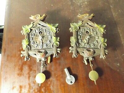2 Vintage 1950s Keebler Miniature Coo Coo Wall Clocks RUNNING GREAT! One Key