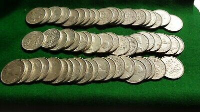 LOT OF 60 PRE 1967 FIFTY CENT CANADA COIN SILVER 50 Half Dollars Circulated
