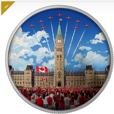2017 Canada 150th anniversary Glow-in-Dark  coloured $30 Pure Silver coin