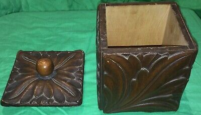 ANTIQUE HAND CARVED WOODEN BOX with LID AZTEC RARE MUST SEE