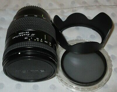 TOKINA AT-X AF ASPHERICAL 24-200mm LENS & EXTRAS, FOR CANON EOS, f/3.5-5.6, VG