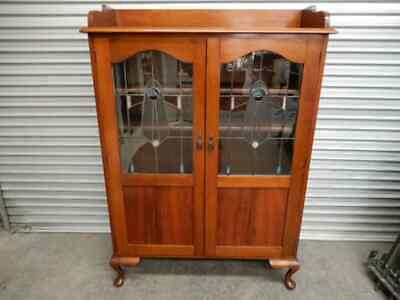 ANTIQUE LEADLIGHT CABINET - BLACKWOOD TIMBER CABINET WITH LEADLIGHT PANES, 3i