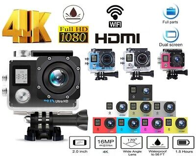 Full HD Waterproof 4K/30fps Wifi Sports Action Camera Helmet DVR Cam DV Recorder