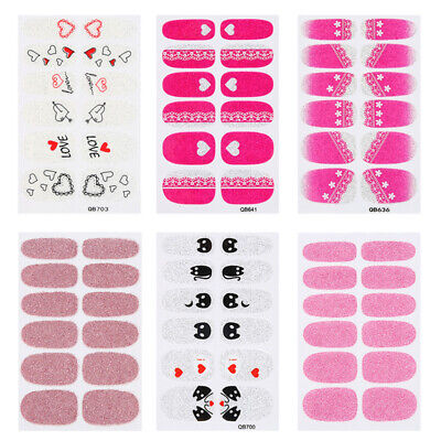 Nail Art Stickers Wraps Polish Decals Strips Glitter Adhesive Manicure DIY Acces