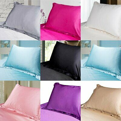 Pair Silk Satin Pillow Case Cover Standard Bedding Smooth Pure Soft Pillowcases