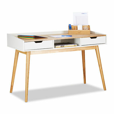 Wooden Office Desk, Computer Table with 2 Drawers, Writing Desk, White