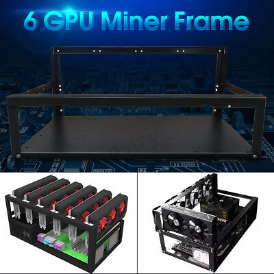 Crypto Coin Open Air Mining Miner Frame Rig Case up to 6 GPU ETH BTC