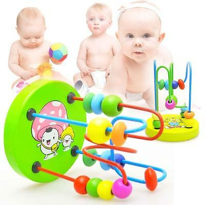 Children Kids Baby Colorful Wooden Mini Around Beads Educational Game Toy HOT CE