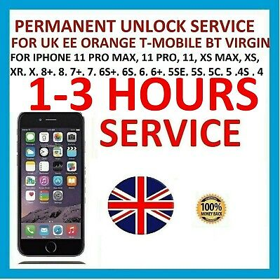 Unlock Service For iPhone X 8 8+ 7 7+ 6S+ 6S 6+ 6 5S 5SE BT ORANGE EE VIRGIN UK