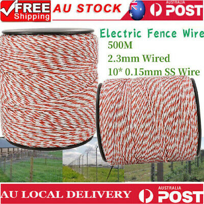 500M Roll Poly Tape Electric Fence Temporary Fencing Kit Stainless Steel Wire AU