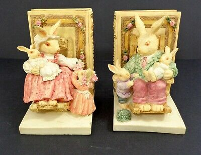 Bunny Tales Baby Rabbits Ceramic Bookends Home Decor Tidy Books