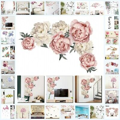 Vintage Rose Flower Tree Wall Stickers Removable Decal DIY Art Home Decoration