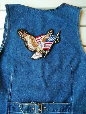 Toppa Patch Ecusson Abzeichen Biker Eagle Us Flag  Big Size Grande Da Schiena