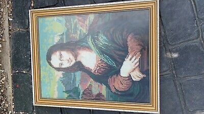 House Clearance Attic Find Classic  handmade Stitched Mona Lisa Pictures Display