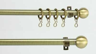 Extendable Antique Brass Finish Cafe / Voile/ Curtain Rod Pole 11mm Rings Option