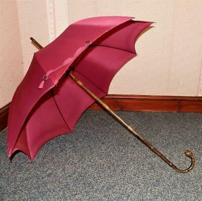 Antique Ladies 'BRIGG LONDON & PARIS' Umbrella w/ Ball Root Crook Handle