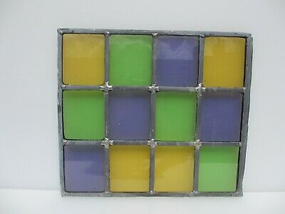 "Vintage Stained Glass Window Panel Architectural Colourful Squares Green 13""x12"""