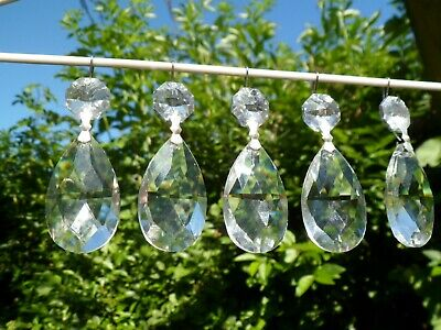 FIVE *SILVER top droplet + Clear Tear-Drop Glass Crystal Chandelier Spares x5