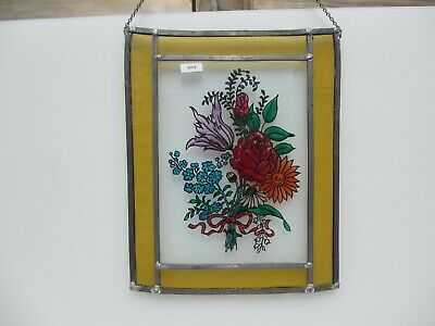 Vintage Stained Glass Window Hanger Leaded Chain Panel Old Flowers Floral Bow