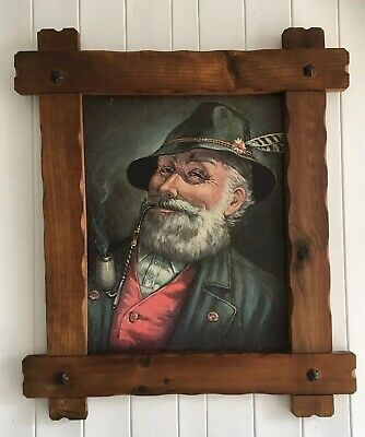 """Large 27.5"""" Vintage German Picture In Rustic Arts & Crafts Style Wooden Frame"""