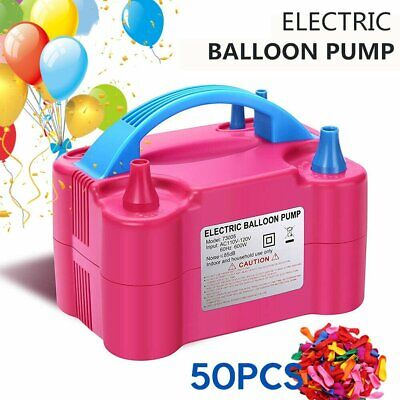 New Portable 600W Electric Balloon Pump Inflator Air Blower Two Nozzle Party