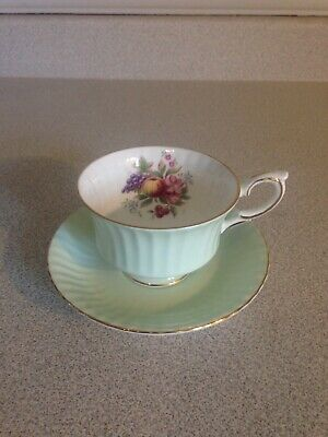 Vintage Paragon Fine Bone China Tea Cup & Saucer, Teal Green, Fruits And Flowers