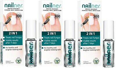 3 X  Nailner Brush 2 In 1 5Ml 300 Application Treats Toe Fungus Nail Infection