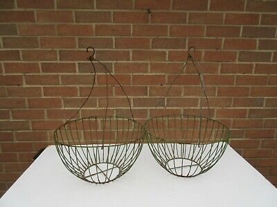 2 Vintage old rustic worn & weathered large wire garden hanging baskets