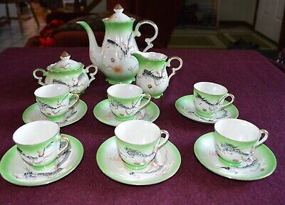 Antique Dragonware Moriage Tea set Teapot 6 cups and saucers Creamer & Sugar