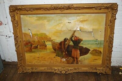 ANTIQUE signed A LEWIS PAINTING FRAME - FRENCH ORNATE CARVED GILT WOOD GESSO